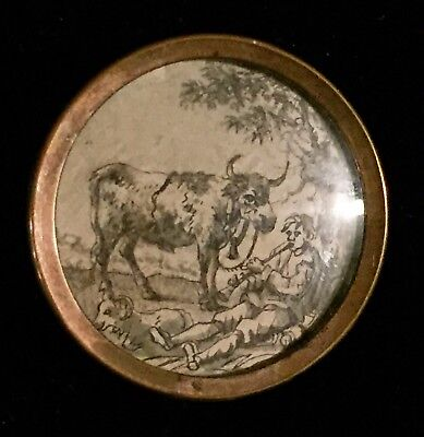 EXQUISITE 18th CENTURY INK ON PAPER UNDER GLASS BUTTON PICTORIAL COW CATTLE BOY