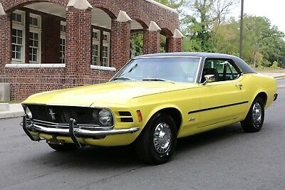 1970 Ford Mustang 2 Door Coupe 1970 Mustang Coupe 302 V-8 Motor Yellow, Marti Report Air Conditioning