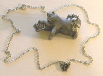 Torino Pewter Cat & Butterfly Box - Pin is Cat & Earrings & Necklace Butterflys