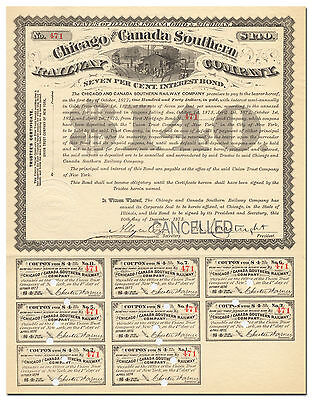 Chicago and Canada Southern Railway Company Bond Certificate (1873)