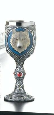 Gothic Celtic Design Stainless Steel Goblet w/ White Timber Wolf Bust