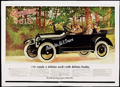1909 WILLYS-OVERLAND AUTOMOBILE Convertible Car 2-Pg Ctrfold Orig Vtg PRINT AD