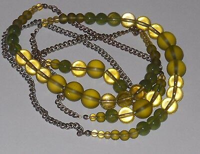 Vintage glass bead green tones long necklace jewelry #6307