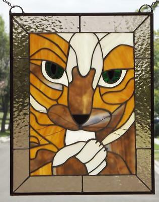 """PUURRRFECT!!!Stained Glass Panel 20x15 3/4"""" ((51x40 Cm) EBSQ Artist"""