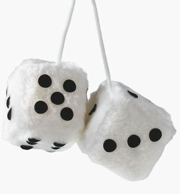 Car WHITE & Black Soft Spotty Furry Fluffy Hanging Mirror Dice Set Of 2 Gift 6cm