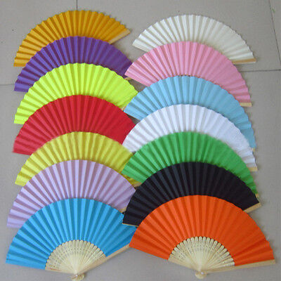 Potable Chinese Plain Hand Held Fabric Folding Fan Summer Pocket Fan Wedding H&T