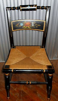 Black Hitchcock Side Chair With Woven Rush Seat & Beautiful Painted Flowers