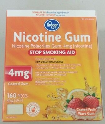 Nicotine Gum 4 MG Coated Fruit Wave 160 Pieces NEW FREE SHIPPING (Nicorette)