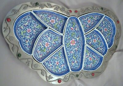 Chinese Rose Famille Export Porcelain Pewter Butterfly Divided Condiment Dish NR