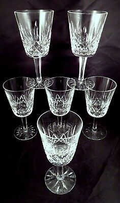 "6 Signed VTG 6 7/8"" Waterford Irish Crystal LISMORE Water Wine Goblets Glasses"
