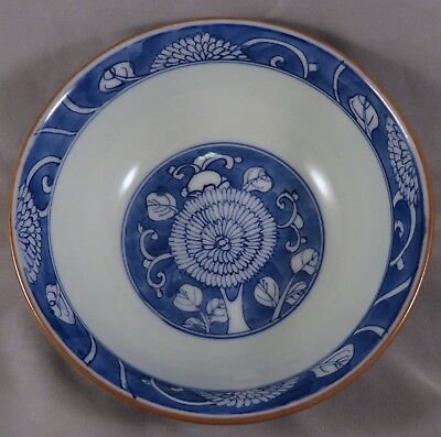 Antique Chinese Qing Kangxi Marked Blue & White Porcelain Chrysanthemum Bowl NR