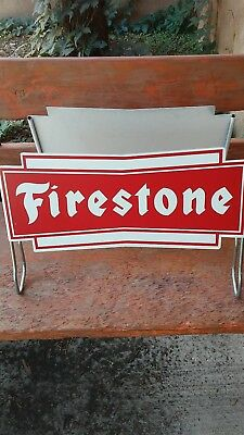 Vintage FIRESTONE Tire Stand 2 Signs Gas Oil Station Car Truck Display NOS nice