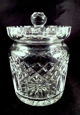"6 3/4"" Waterford Irish Crystal LISMORE Biscuit Cookie Barrel Lidded Jar Humidor"