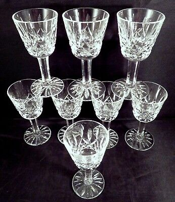 "8 Waterford Irish Cut Crystal LISMORE 3.5"" Liqueur Cordial Apertif Shot Glasses"