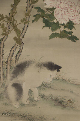 """JAPANESE HANGING SCROLL ART Painting """"Cat and Flower""""  #E8762"""