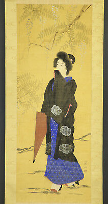 """JAPANESE HANGING SCROLL ART Painting """"Beauty"""" Asian antique  #E8788"""