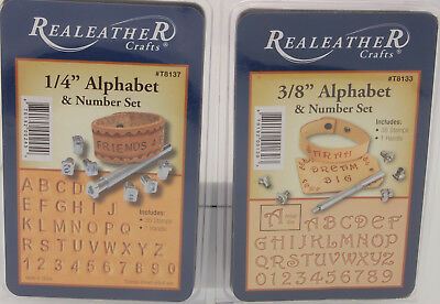 "Realeather Crafts Alphabet and Number Leather Stamp Set 3/8"" or 1/4"" Your Choice"