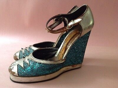 AWESOME 30's PLATFORM SHOES Silver GLITTER Showgirl High Heels FLAPPER GROUPIE
