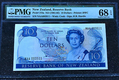"1981-85 NEW ZEALAND 10 Dollars ""ELIZABETH II""  PK172a  PMG68 EPQ **FINEST KNOWN*"