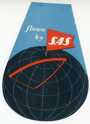 Flown by SAS ~SCANDINAVIAN AIRLINES~ Great Old Luggage Label, 1955