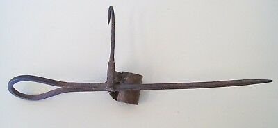 Vintage Wrought Iron Miners Candle Holder 10 ¾ Inches Sticking Tommy Stick