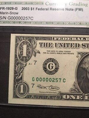 2003 $1Federal Reserve Note Low Three Digit Serial Number G 00000257C CHOICE UNC