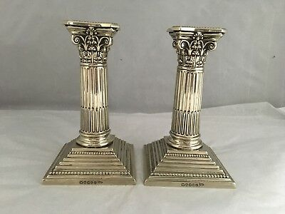 "ANTIQUE silver plated pair of CORINTHIAN 6"" HIGH CANDLESTICKS by WALKER & HALL"