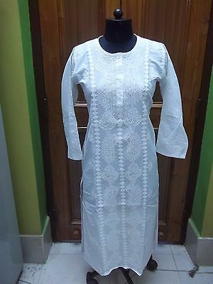 Extremely Rare Xs 2Xl Ethnic Chikan Embroidery 100% Cotton Top Handmade Kurti