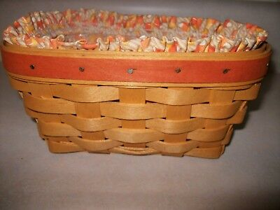 Longaberger Basket 1999 with Plastic Insert and Candy Corn Liner