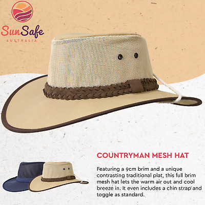Countryman Hat Mens Full Brim Mesh Cotton Canvas with Mesh Foldable Broad Brim
