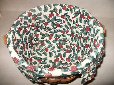 Longaberger Christmas Collection 1994 Edition Jingle Bell Basket w Holly Liner
