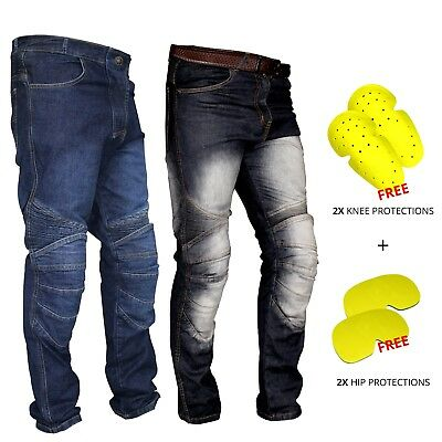 New Mens Motorcycle Motorbike Jeans Denim Trouser Pant CE Approved Protections