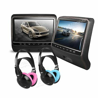 "HDMI 9"" HD Digital TFT LCD Screen Car Headrest Monitor DVD/USB/SD Player IR/FM"