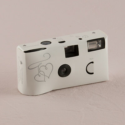 Disposable Camera x 10 with Flash - White & Silver Enchanted Hearts