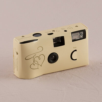 Disposable Camera x 10 with Flash - Enchanted Hearts Ivory And Gold