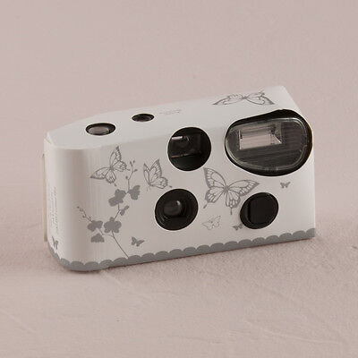Disposable Wedding x 10 Camera with Flash - Butterfly Garden White And Silver