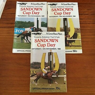 Sandown Cup Meeting Race Books X 3. 1980,81,82
