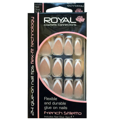 Kit 24 faux ongles & colle french manucure - forme stiletto flexible et durable