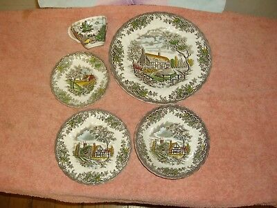 myott the brook 1 dinner plate 1side playe-1 bowl- 1cup-1saucer