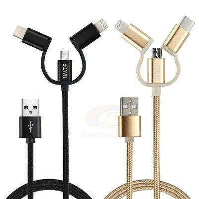 3 in 1 Multi USB Charger Charging Cable Cord For iPhone USB TYPE C Android Micro