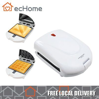 ecHome 2 in 1 Non-Stick Sandwich Waffle Maker Grill Panini Press Toaster Cooker