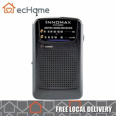 iNNOMAX Portable AM/FM Radio Receiver with Speaker Powered by AAA Battery Black