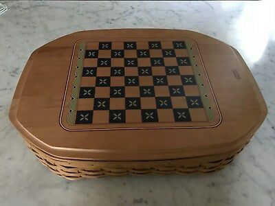 Longaberger 2005 All-in-One game basket, Checkers, Chess, Backgammon  Set combo