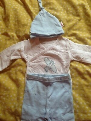Baby Set Blue / White MINENE 0 TO 3 MONTHS BABY SET 100% COTTON