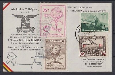 Belgique-België 1939 Courrier officiel de la Coupe Gordon Bennett, 1er sept 1939