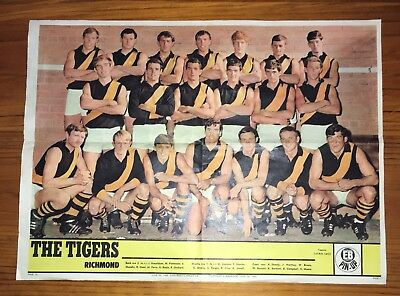Rare 1968 Richmond Football Club Pinup Team Poster From 'eb' Magazine.