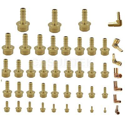90Deg BSP to Brass Male Elbow/Straight Barb Hose Tail Pipe Gas Coupler Connector