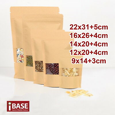Stand Up Bag Kraft Paper Seal Packaging Window Zip Lock Pouch Food Sealing FREE