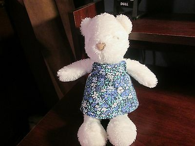 Carter's plush white teddy in flower dress with stitched eyes VHTF