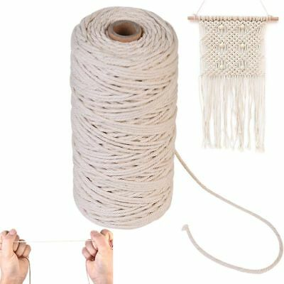 100m 100% Natural Beige Cotton Twisted Cord Macrame Artisan String Home Decor